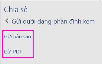 Ảnh của hai tùy chọn trong Ngăn Chia sẻ để gửi tài liệu qua email dưới dạng bản sao hoặc dưới dạng PDF