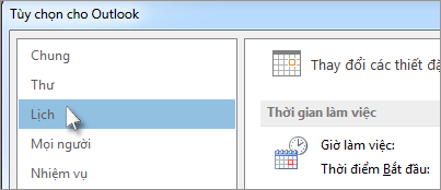Trong Tùy chọn Outlook, bấm Lịch.