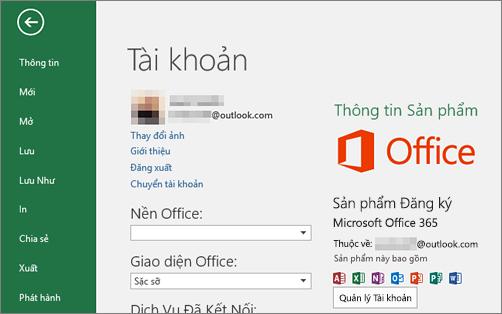 Tài khoản Microsoft liên kết với Office sẽ xuất hiện trên cửa sổ tài khoản của ứng dụng Office