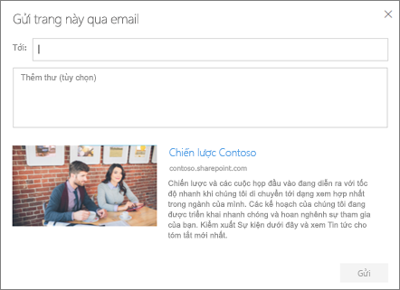Gửi bằng email hộp thoại