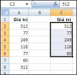 Giá trị gốc trong cột A và các giá trị duy nhất từ cột A được tạo trong cột C