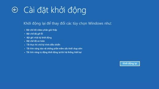 Màn hình Cài đặt Khởi động trong Môi trường Phục hồi Windows.