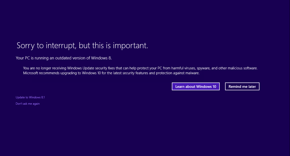 PC của bạn đang chạy phiên bản Windows 8 đã lỗi thời