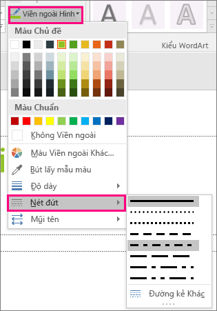 Hiển thị các kiểu đường khác nhau trong Office