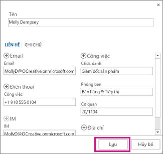 Thêm một liên hệ mới từ thư vào Outlook