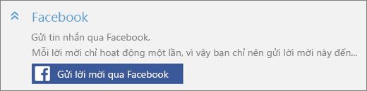 """Ảnh chụp màn hình hình chụp cận cảnh của phần """"Facebook"""" trong hộp thoại """"Thêm người nào đó"""" với nút """"Gửi thư mời qua Facebook""""."""