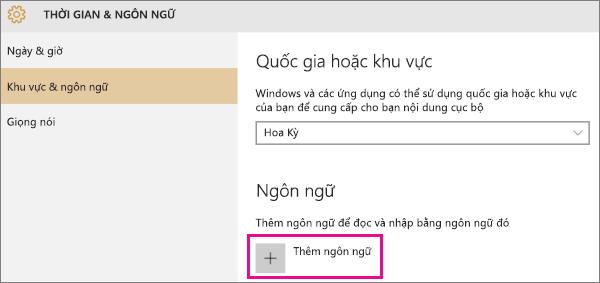 Thêm ngôn ngữ trong Windows 10