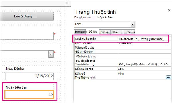 Nhập hàm DateDiff vào thuộc tính Nguồn Điều khiển của hộp văn bản.