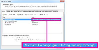 Tài khoản Microsoft Exchange như xuất hiện trong hộp thoại Thiết đặt Tài khoản