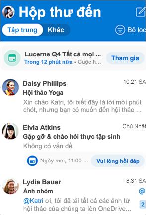Hiển thị hộp thư đến Outlook