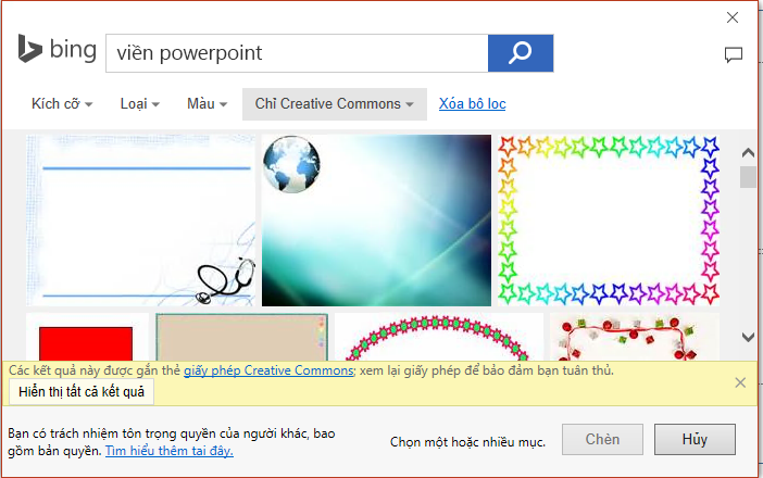 Kết quả tìm kiếm PowerPoint viền trong Bing.