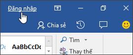 Ảnh chụp màn hình hiển thị liên kết đăng nhập trong ứng dụng Office trên máy tính