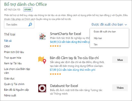 """Ảnh chụp màn hình của phần lưu trữ trong trang Office bổ trợ, nơi bạn có thể duyệt tìm bổ trợ theo xếp hạng của nó, tên, hoặc dùng tùy chọn """"Được đề xuất cho bạn"""". Bạn cũng có thể sử dụng hộp tìm kiếm để tìm bổ trợ."""