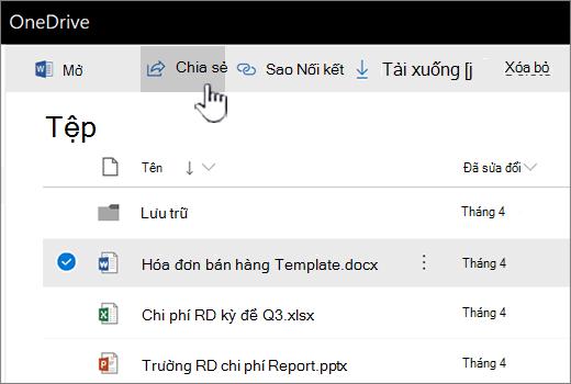 OneDrive với tệp được chọn và nút được đẩy chia sẻ