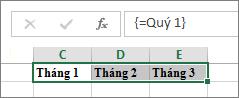 Một hằng số đã đặt tên được dùng trong một công thức mảng