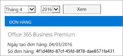 Ảnh chụp màn hình trang Hóa đơn trong Trung tâm Quản trị Office 365.