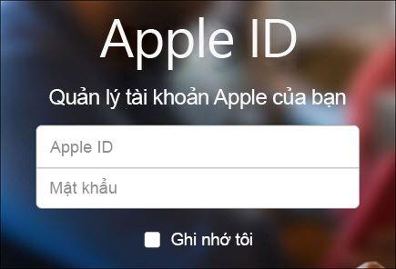 Đăng nhập bằng tên người dùng và mật khẩu iCloud