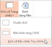 Tùy chọn menu Kích cỡ Trang chiếu Tùy chỉnh