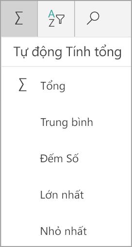 Tính năng tính tổng Windows của máy tính bảng Excel
