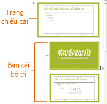 Trang trình chiếu chính với các trang bố cục chính ở dạng xem trang trình chiếu chính