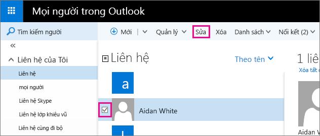 Ảnh chụp màn hình cho thấy một phần của trang Mọi người Outlook. Trong ảnh chụp màn hình này, hộp kiểm bên cạnh một tên liên hệ được chọn và có khung chú thích cho lệnh Sửa trên thanh công cụ.