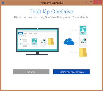 Ảnh chụp màn hình hộp thoại Thiết lập OneDrive khi thiết lập OneDrive for Business để đồng bộ