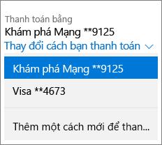Trang Dịch vụ & đăng ký, hiển thị menu thả xuống Thay đổi cách thanh toán cho đăng ký Office 365 Home.
