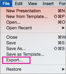 Xuất Tệp trong PowerPoint 2016 cho Mac