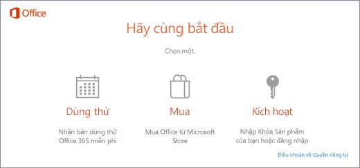 Ảnh chụp màn hình hiển thị các tùy chọn dùng thử, mua hoặc kích hoạt mặc định cho một PC đã cài sẵn Office.