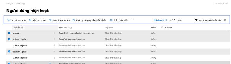 Ảnh chụp màn hình: thanh lệnh Microsoft 365 bản xem trước người dùng hiện hoạt.