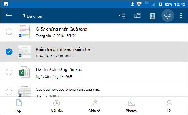 Đánh dấu tệp OneDrive cho ngoại tuyến