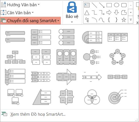 Hiển thị các tùy chọn trong chuyển đổi thành SmartArt bộ sưu tập