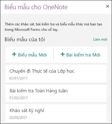 Biểu mẫu cho Pa-nen OneNote trong OneNote cho web