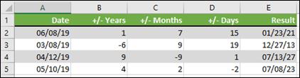 Sử dụng hàm DATE để cộng hoặc trừ năm, tháng, hoặc ngày đến/từ một ngày.