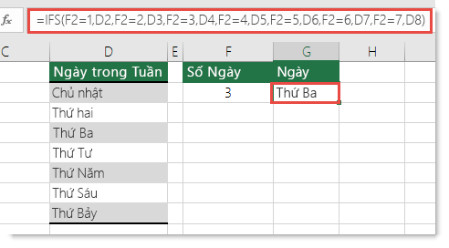 Hỗ trợ IFS - ví dụ Ngày trong Tuần - Công thức trong ô G2 là =IFS(F2=1,D2,F2=2,D3,F2=3,D4,F2=4,D5,F2=5,D6,F2=6,D7,F2=7,D8)