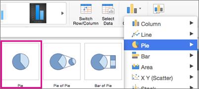 Bộ chọn Loại Biểu đồ trong Office cho Mac
