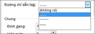 Thay đổi đường chỉ dẫn tab trong mục lục thành dấu gạch ngang hoặc dấu chấm.