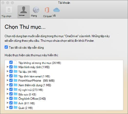 Hộp thoại chọn thư mục bên dưới cửa sổ tùy chọn OneDrive for Mac