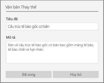 Hộp thoại văn bản thay thế để thêm văn bản thay thế trong OneNote for Windows 10.
