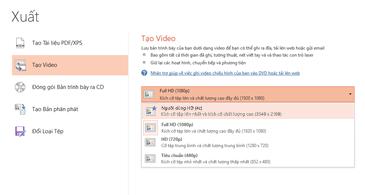Ảnh chụp màn hình hộp thoại Xuất hiển thị các tùy chọn sẵn dùng khi tạo video dựa trên một bản trình bày