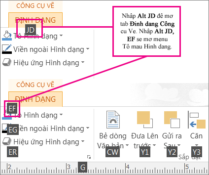 Các phím tắt mới, sử dụng chữ hai chữ cái, mở tab Công cụ Vẽ.
