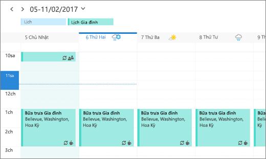 Ảnh chụp màn hình của Lịch Outlook hiển thị sự kiện chung của gia đình.