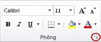 Công cụ khởi động hộp thoại trong nhóm Phông