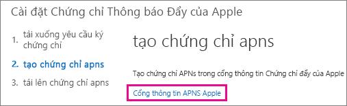 Đi đến cổng thông tin chứng chỉ đẩy Apple để tạo chứng chỉ.