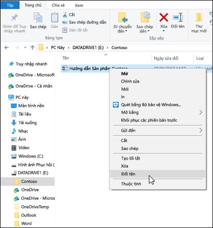 Bấm chuột phải vào bất kỳ tệp nào trong Windows File Explorer để đổi tên.