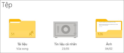 Ảnh chụp màn hình thư mục Tín liệu Cá nhân trong OneDrive
