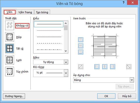 Hộp thoại Viền và Màu nền dành cho bảng trong Outlook 2010