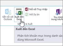 Nút Xuất sang Excel trên dải băng của SharePoint được tô sáng