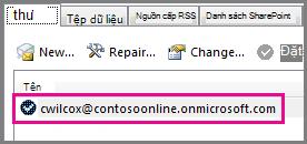 Một tài khoản trong hộp thoại Thiết đặt Tài khoản trong Outlook 2013