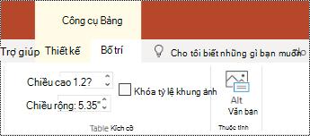 Nút văn bản thay thế trên dải băng cho bảng trong PowerPoint Online.